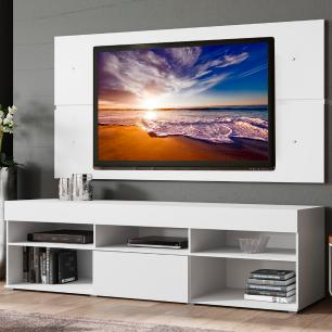 Rack com Painel para TV até 65 Polegadas Madesa Miami 1 Porta - Branco