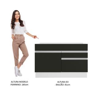 Balcão Gabinete de Pia Madesa Glamy 120 cm 1 Porta 2 Gavetas - Branco/Preto