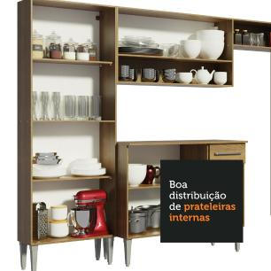 Cozinha Completa Madesa Emilly Drive com Balcão e Armário Aéreo Reflex - Rustic