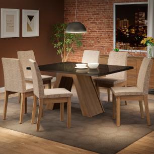 Conjunto Sala de Jantar Madesa Pietra Mesa Tampo de Vidro com 6 Cadeiras