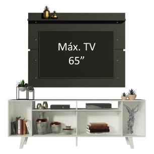 Rack Madesa Cancun com Pés e Painel para TV até 65 Polegadas - Branco/Preto 0977