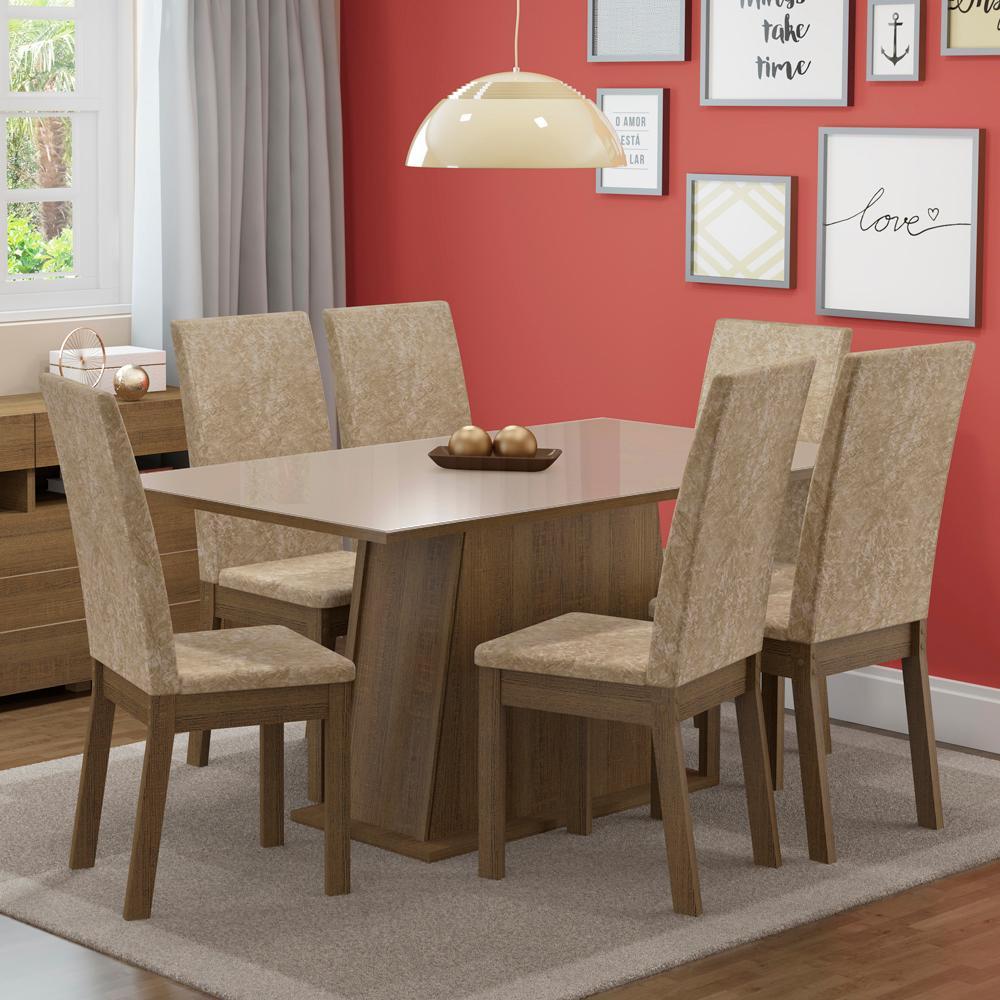 Conjunto Sala de Jantar Madesa Thaís Mesa Tampo de Vidro com 6 Cadeiras