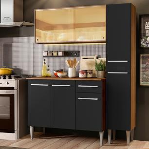 Cozinha Compacta Madesa Emilly Gold com Armário, Balcão e Paneleiro - Rustic/Preto