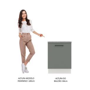 Balcão Madesa Agata 60 cm 1 Porta - Branco/Cinza