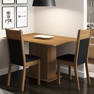 Conjunto Sala de Jantar Madesa Gabi Mesa Tampo de Madeira com 2 Cadeiras - Rustic/Preto/Sintético Preto
