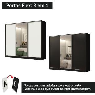 Guarda Roupa Casal 100% MDF Madesa Royale 3 Portas de Correr com Espelho - Preto/Branco
