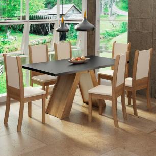 Conjunto Sala de Jantar Madesa Paola Mesa Tampo de Madeira com 6 Cadeiras