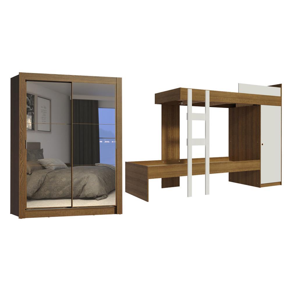 Kit Madesa Guarda-Roupa Infantil Dallas Plus 2 Portas de Correr de Espelho + Beliche Larissa