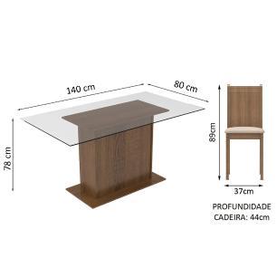 Conjunto Sala de Jantar Madesa Molly Mesa Tampo de Vidro com 6 Cadeiras - Rustic/Pérola