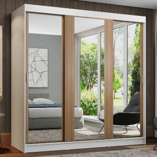 Guarda-Roupa Casal Madesa Reno 3 Portas de Correr de Espelho - Branco/Rustic