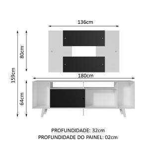 Rack Madesa Cancun e Painel para TV até 58 Polegadas com Pés - Branco/Preto 73C7