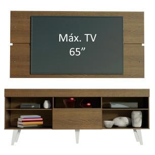 Rack com Painel para TV até 65 Polegadas Madesa Miami com Pés - Rustic/Branco