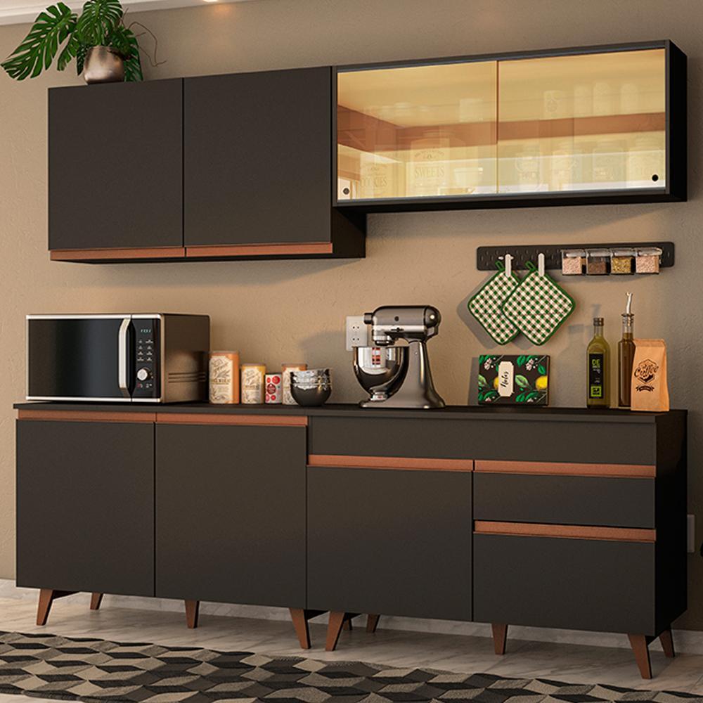 Cozinha Completa Madesa Reims 240001 com Armário e Balcão - Preto