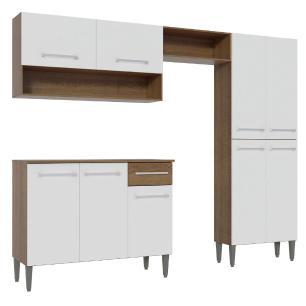 Armário de Cozinha Compacta Madesa Emilly Pop com Balcão - Rustic/Branco