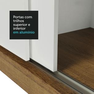 Guarda Roupa Casal Madesa Mônaco 3 Portas de Correr - Rustic/Branco