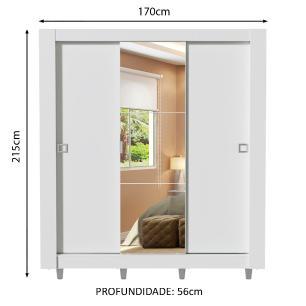 Guarda-Roupa Casal Madesa Style 3 Portas de Correr Central com Espelho