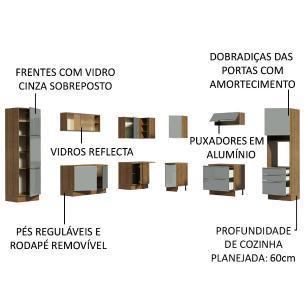 Cozinha Completa de Canto Madesa Lux 526001 com Armário e Balcão - Rustic/Cinza