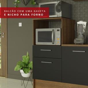 Cozinha Completa Madesa Onix 240003 com Armário e Balcão - Rustic/Preto 5Z7K