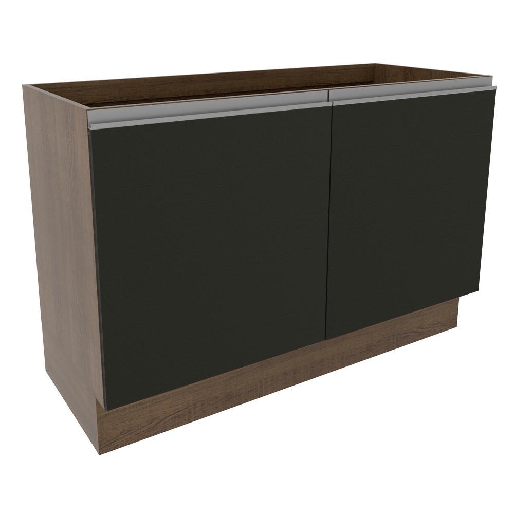 Balcão Gabinete de Pia Madesa Glamy 120 cm 2 Portas - Rustic/Preto