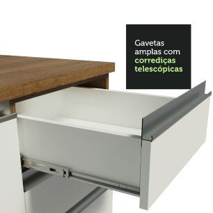 Balcão de Pia Madesa Glamy 120 cm 1 Porta e 2 Gavetas (Com Tampo) - Rustic/Branco