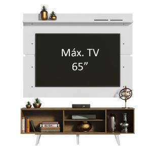 Rack Madesa Dubai e Painel para TV até 65 Polegadas com Pés - Rustic/Branco 5Z09