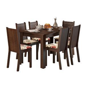 Conjunto Sala de Jantar Maris Madesa Mesa Tampo de Madeira com 6 Cadeiras