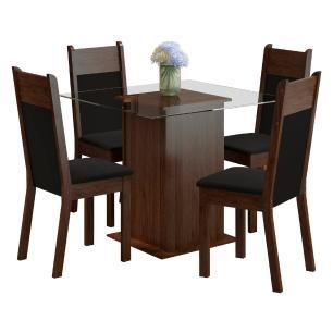 Conjunto Sala de Jantar Madesa Miami Mesa Tampo de Vidro com 4 Cadeiras