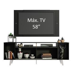 Rack Madesa Cancun e Painel para TV até 58 Polegadas com Pés - Preto/Branco 7777