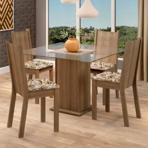 Conjunto Sala de Jantar Madesa Maya Mesa Tampo de Vidro com 4 Cadeiras