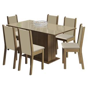 Conjunto Sala de Jantar Madesa Moscou Plus Mesa Tampo de Vidro com 6 Cadeiras