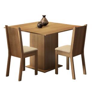 Conjunto Sala de Jantar Madesa Isa Mesa Tampo de Madeira com 2 Cadeiras