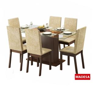 Conjunto Sala de Jantar Valentina Madesa Mesa Tampo de Vidro com 6 Cadeiras