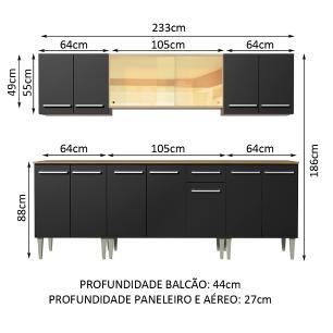 Cozinha Completa Madesa Emilly Fire com Balcão e Armário Aéreo Reflex - Rustic/Preto