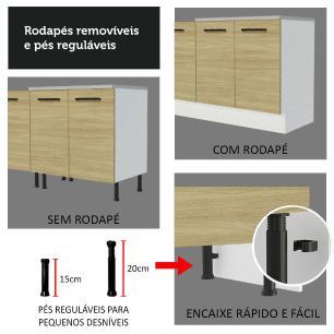 Balcão Madesa Agata 80 cm 2 Portas - Branco/Carvalho