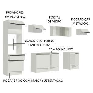 Cozinha Completa Madesa Topazio 300001 com Armário, Balcão e Tampo - Branco