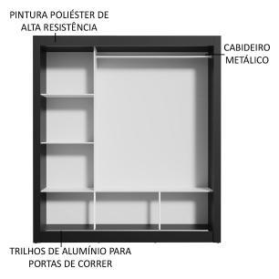 Guarda-Roupa Casal Madesa Mônaco 3 Portas de Correr com Espelho - Preto/Carvalho
