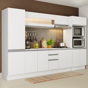 Cozinha Completa 100% MDF Madesa Smart 300 cm Modulada Com Armário, Balcão e Tampo