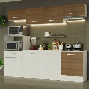 Cozinha Completa Madesa Onix 240003 com Armário e Balcão - Branco/Rustic 096E