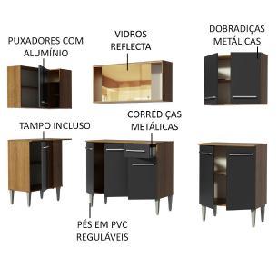 Armário de Cozinha Completa de Canto Madesa Emilly Play Balcão e Aéreo Vidro Reflex - Rustic/Preto