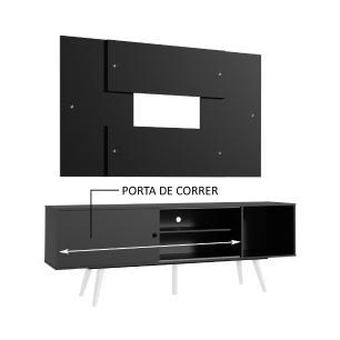 Rack Madesa Cairo e Painel para TV até 58 Polegadas com Pés de Madeira - Preto/Branco 8N77