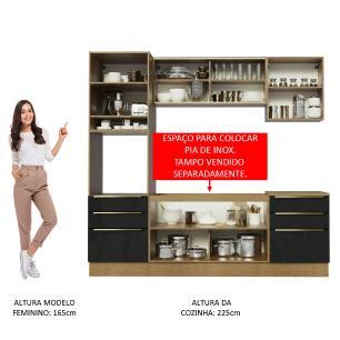 Cozinha Completa Madesa Lux 240002 com Armário e Balcão - Rustic/Preto