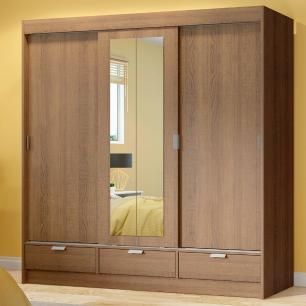 Guarda-Roupa Casal Madesa Sevilha 3 Portas de Correr Com Espelho