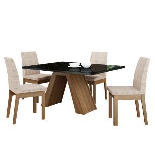 Conjunto Sala de Jantar Madesa Ayla Mesa Tampo de Vidro com 4 Cadeiras