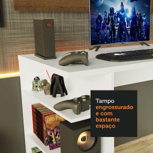 Mesa para Computador Gamer Madesa 9409 e Painel para TV até 50 Polegadas - Branco/Rustic