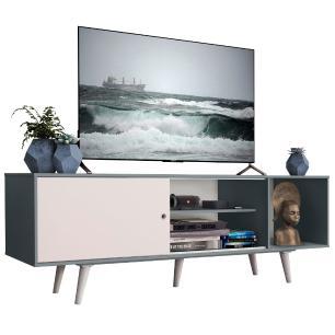 Rack Madesa Dubai para TV até 65 Polegadas com Pés - Cinza/Branco F709