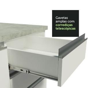 Balcão de Pia Madesa Glamy 120 cm 1 Porta e 2 Gavetas (Com Tampo) - Branco