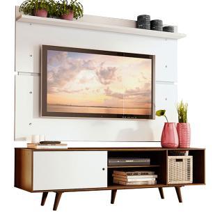 Rack Madesa Dubai e Painel para TV até 65 Polegadas com Pés - Rustic/Branco 6E9B