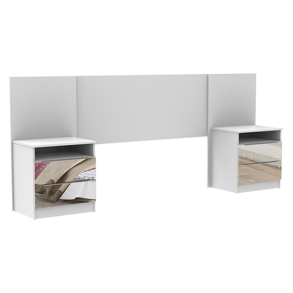 Cabeceira Extensível Madesa com 2 Mesas Laterais com Espelho