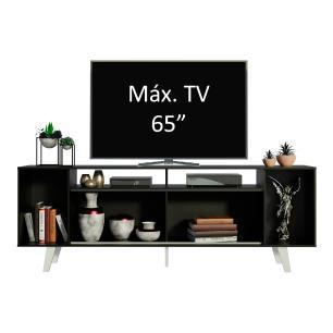 Rack para TV até 65 Polegadas Madesa Cancun com Pés - Preto/Branco/Branco