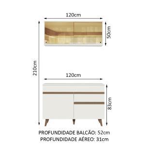 Cozinha Compacta Madesa Reims 120001 com Armário e Balcão - Branco